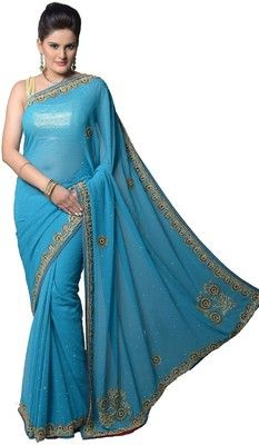 Buy Aarti Saree Self Design Embroidered Embellished Chiffon Sari Online at Best Offer Prices @ Rs. 3,000/- In India.