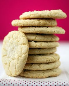 If you desire a classic chewy sugar cookie, this is it. These giant drop cookies are perfect to dunk into a glass of milk. A touch of sour cream gives them a moist texture. The recipe can easily be doubled, and the dough can be frozen, too.