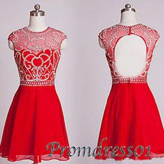 #promdress01 prom dresses -Cute red chffion beaded open back cap sleeve vintage…