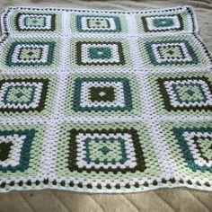 Green and White Granny Square Crochet Blanket