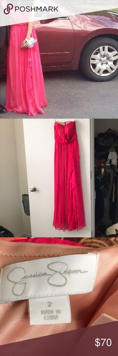 Jessica Simpson Prom Dress Beautiful pink Jessica Simpson prom dress it's been sitting in my closet for 3 years haven't worn since prom it's a size 2 but I had to get it tailored so it would probably fit a size 0 Jessica Simpson Dresses Prom
