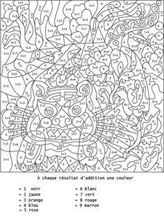 Coloriage numéroté et addition : additionner pour colorier - Tête à modeler