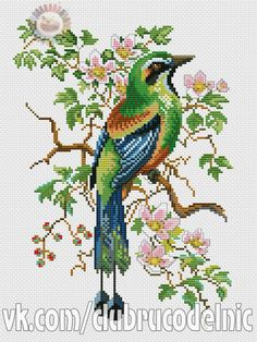 This Pin was discovered by Olg Cross Stitch Bird, Cross Stitch Animals, Cross Stitch Designs, Cross Stitching, Cross Stitch Patterns, Hand Embroidery Designs, Beaded Embroidery, Cross Stitch Embroidery, Embroidery Patterns