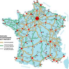 carte routes et autoroutes de France