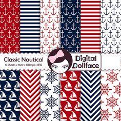 Nautical Digital Paper Set Scrapbook Paper Pack by DigitalDollFace, $3.00