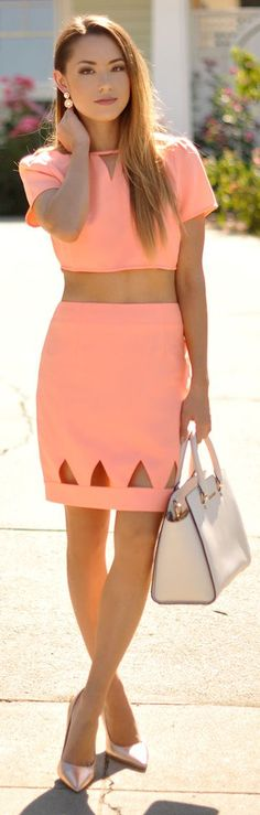 Coral Cut Out Summer Set #Fashionistas