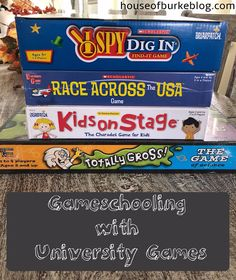 House of Burke: Gameschooling with University Games Games For Kids, Activities For Kids, Crafts For Kids, Charades Game, It Game, Quality Time, Homeschool, University, Gift Ideas