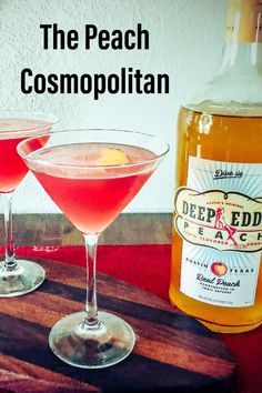 This Peach Cosmopolitan is a twist on the classic Cosmo. I actually think this martini is better than the traditional version. Made with Deep Eddy Peach Vodka, Cointreau, Lime Juice, Cranberry Juice, and Simple Syrup. Peach Vodka Drinks, Cointreau Cocktails, Peach Martini, Cocktail Syrups, Peach Juice, Cranberry Juice, Lime Juice, Martinis, Cocktails