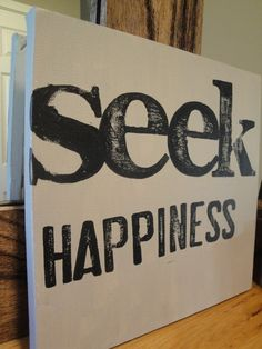 Canvas Word Series  Seek Happiness by CantonBoxCompany on Etsy, $20.00