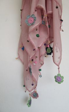 Pink powder  scarf made by bead and lace handiwork by SEVILSBAZAAR, $20.00