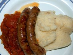 """Mieliepap (called """"grits"""" in Texas) is an old South African favorite that goes well with meat or as a breakfast porridge or cereal. Meat Skewers, Breakfast Porridge, Spinach Soup, South African Recipes, Fitness Diet, Food To Make, Side Dishes, Vegetarian, Dinner"""