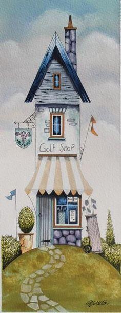 The Golf Shop (Original) by Gary Walton, Art Print Storybook Cottage, Golf Shop, House Illustration, 3d Prints, Naive Art, Art For Art Sake, Whimsical Art, Little Houses, Painting Inspiration