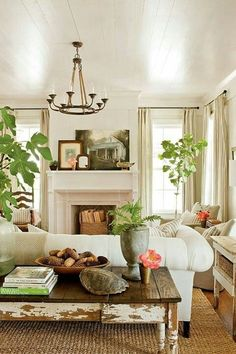 Light colored space with several windows and lots of natural green accents from indoor plants.