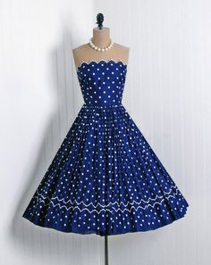 1950's Vintage Polka-Dot Embroidered Navy-Blue & White Voile-Cotton Couture Scalloped Strapless Full Circle-Skirt Rockabilly Sun Party Dress