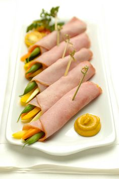 Freybe Ham & Veggie Wraps - Veggies rolled into honey ham with honey mustard for dipping.