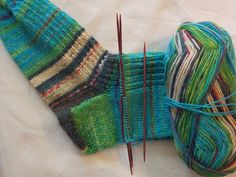Sock yarn turquoise teal aqua emerald mint dyed in colours after paintings of Hundertwasser Opal 3206 stunning effect when you knit it up by PurpleValleyDesign on Etsy