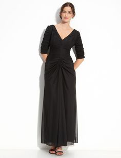 Modest Half Sleeve Floor-length Chiffon Black Mother Of The Bride Dress