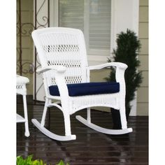 Havenside Home Avoca White Plantation Rocking Chair, Outdoor Patio Furniture (Steel) White Wooden Rocking Chair, Wicker Rocking Chair, Outdoor Rocking Chairs, Wicker Chairs, Wooden Chairs, Patio Chairs, Office Chairs, Room Chairs, Resin Patio