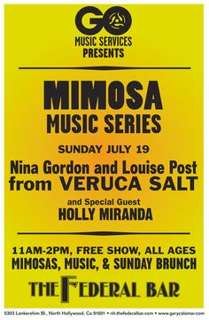 7/19/15  Nina Gordon & Louise Post from Veruca Salt with special guests Holly Miranda   The Federal Bar at TicketWeb