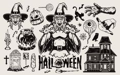 Monochrome Halloween vector illustrations. Download 21 Spooky Halloween designs on www.dgimstudio.com. Hand-drawn colorful spooky illustrations of Zombie, Vampire, Witch, Reaper, Pumpkins and much more will make your holiday collection eye-catching. #halloween #halloween2020 #vector #vectorillustration #zombie #pumpkin