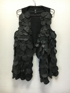 Leather, vest, recycled, leather pieces, black vest, one of a kind, unique by IvziteFashion on Etsy