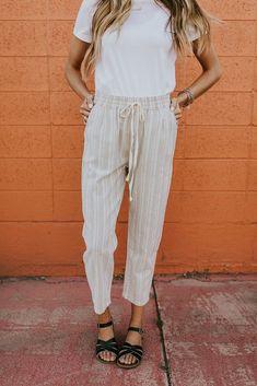Stripe Lightweight Drawstring Pants | ROOLEE