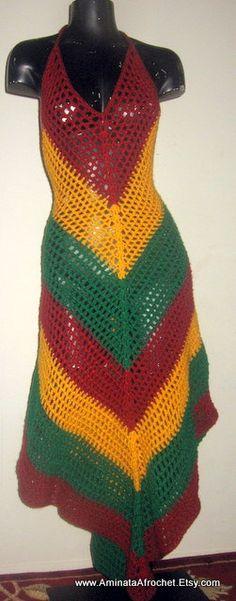 Beautiful Rasta Festival Dress by AminataAfrochet on Etsy, $125.00