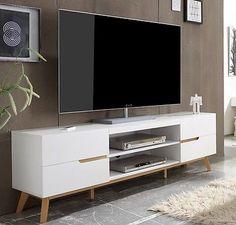 Lindholm Möbel tv lowboard lindholm eiche teilmassiv matt weiß eiche tv