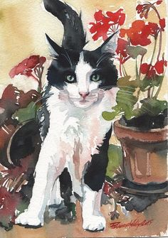 Tuxedo CAT Black AND White Original Watercolor Painting CAT ART Flowers Artwork eBay