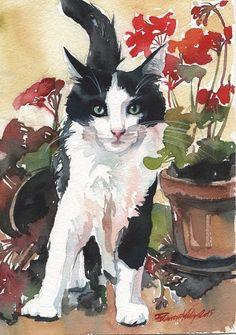 Tuxedo CAT Black AND White Original Watercolor Painting CAT ART Flowers Artwork | eBay