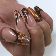 Smores – Wildflowers Simple Nail Art Designs, Fall Nail Designs, Acrylic Nail Designs, Long Nail Designs Square, Burgundy Nail Designs, Orange Nail Designs, Long Nail Art, Easy Nail Art, Long Nails