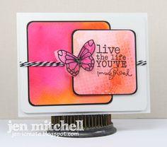 Watercolor card, Verve, butterflies, I Create, jen-icreate.blogspot.com