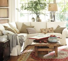 White Sectional Couch...perfect for a living room or a den...pottery barn style....chest as side table...rugged country coffee table...