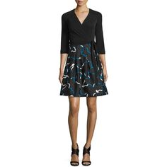 Diane von Furstenberg Jewel Mikado-Skirt Wrap Dress (¥58,215) ❤ liked on Polyvore featuring dresses, wrap dress, 3/4 sleeve a line dress, 3/4 sleeve wrap dress, 3/4 sleeve dress and a line dress