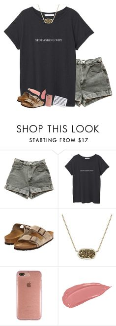 """""""sometimes i just need a light✨"""" by beingrach ❤ liked on Polyvore featuring American Apparel, MANGO, Birkenstock, Kendra Scott and Speck"""