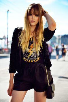 kristina wearing a mango blazer, a shirt from guess and michael kors bag