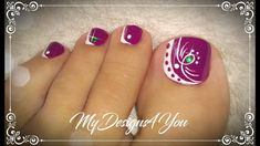 Beautiful Purple Toenail Art Design  ♥ Pedicure Purple Toe Nails, Purple Toes, Pretty Toe Nails, Cute Toe Nails, Toe Nail Color, Chevron Nails, Toe Nail Art, Nail Designs Toenails, Toenail Art Designs