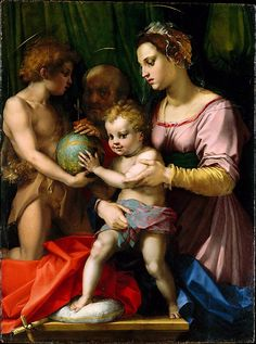 The Holy Family with the Young Saint John the Baptist, Andrea del Sarto (Andrea d'Agnolo)  (Italian, Florence 1486–1530 Florence) love the red trim and green belt with the pink gown