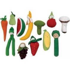 Organic Veggies and Fruit Safe Non toxic Teething Toys for Baby by Under the Nile -amazon.com