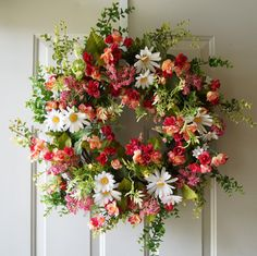 Summer Wreath Roses Wreath Wildflowers Roses by Hobby4Crafts