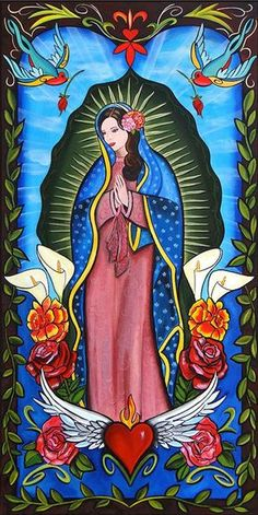 Mexican Artwork, Mexican Paintings, Mexican Folk Art, Catholic Art, Religious Art, Aztecas Art, Mexican Art Tattoos, Indian Tattoos, Virgin Mary Art