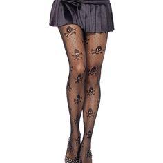 Black Stylish Ladies Sheer Lace Skull Pattern Tights ($8.85) ❤ liked on Polyvore featuring intimates, hosiery, tights, black, leggings, pants, black tights, skull stockings, black pantyhose y black hosiery