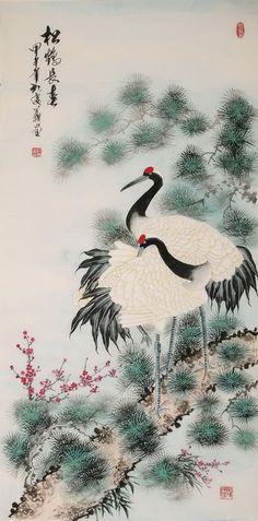 Chinese Crane Paintings Japanese Crane, Japanese Art, Crane Drawing, Chinese Arts And Crafts, Japan Painting, Bonsai Art, Soul Art, China Art, Japanese Prints