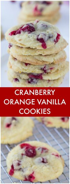 These soft and chewy Cranberry Orange Vanilla Cookies recipe is perfect for the holidays and it starts with a box mix of vanilla sugar cookies. Vanilla Cookie Recipe, Vanilla Cookies, Sugar Cookies, Vanilla Sugar, Köstliche Desserts, Delicious Desserts, Dessert Recipes, Delicious Cookies, Holiday Baking