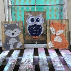 3 piece set of Woodland String Art Animals, Raccoon, Owl and Fox Set, Woodland Nursery Art, Custom Wood Signs, Forest Animal Theme, Nail Art