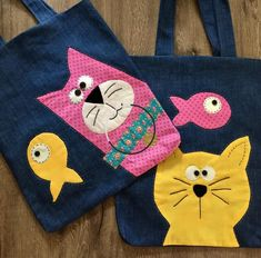 Sewing Crafts, Sewing Projects, Fish In A Bag, Fish Bags, Cat Bag, Patchwork Bags, Denim Bag, Sewing For Kids, Handmade Bags