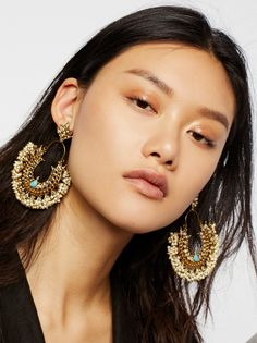 Gilded arrays of turquoise and pearls to feel like a damn queen. Boho Jewelry, Fashion Jewelry, Jewlery, Fashion Earrings, Eyebrows, Eyeliner, Free People Clothing, Turquoise Accents, Glam Makeup
