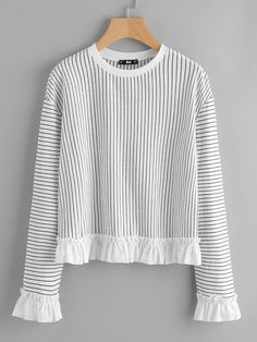 SheIn offers Frill Trim Pinstripe Sweatshirt & more to fit your fashionable Autumn T Shirts, Pullover Designs, Sweatshirts Online, Mode Inspiration, Cute Tops, Women's Dresses, 1950s Dresses, Vintage Dresses, Cute Outfits