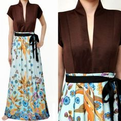 Maxi dress, pair it with a brown leather jacket and some nice strappy-sandals...lovely Spring look!