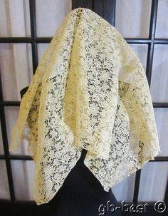 Antique Bobbin Net Lace Flounce Wedding Veil Philadelphia Estate Gorgeous Lush | eBay